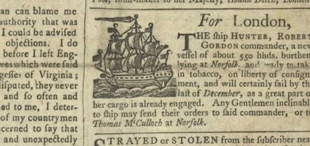 A newspaper announcement of the voyage of the ship 'Hunter' to London