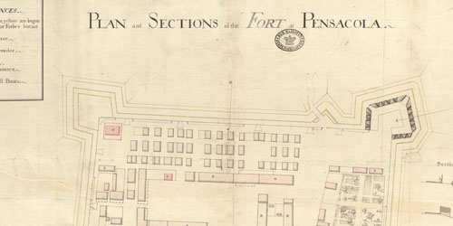 'Plan and sections of the fort at Pensacola'